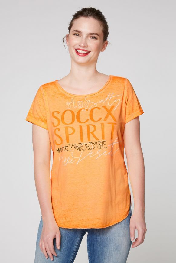 T-Shirt zum Knoten mit Ausbrennern und Artwork sunrise neon