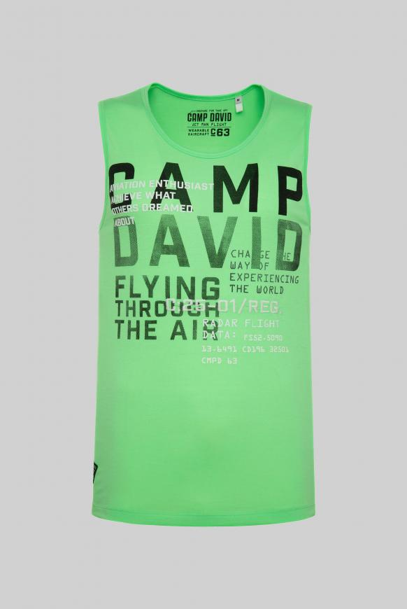 Tanktop mit Rubber Prints und Stickereien tech green