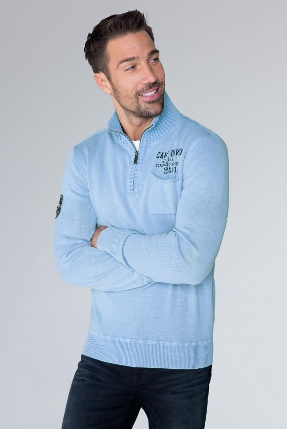 Troyer-Pullover mit Chenille-Kragen light blue