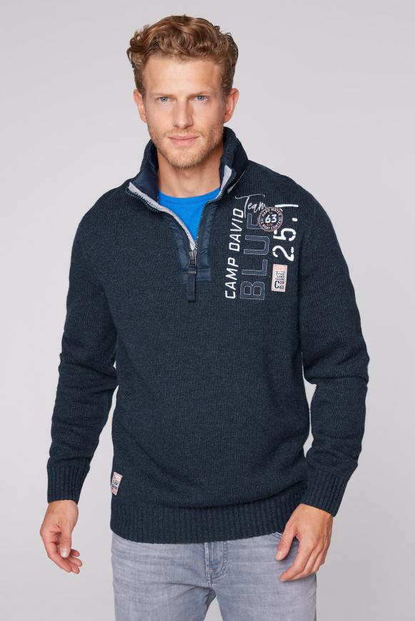 Troyer-Pullover mit Kapuze und Artwork blue navy