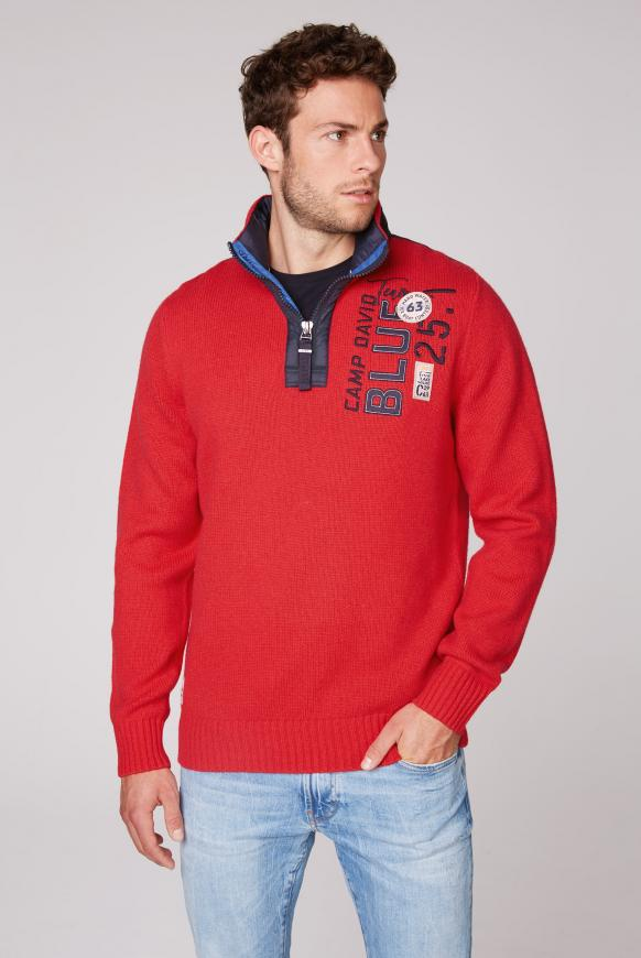 Troyer-Pullover mit Kapuze und Artwork speed red