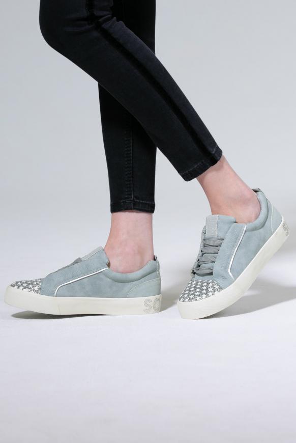 Veganer Plateau-Sneaker mit Glitterkappe moon grey