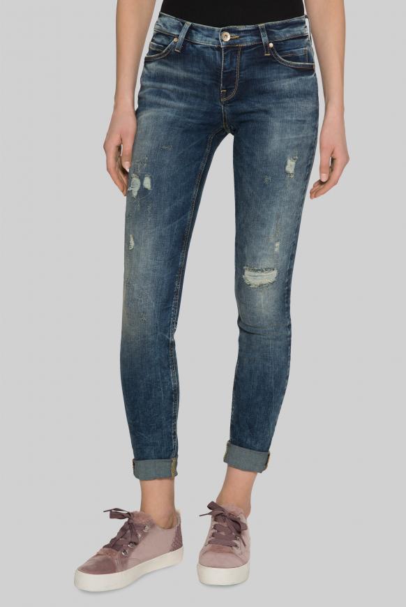 Vintage Jeans HE:DI mit Destroy-Effekten Slim Fit old blue destroy