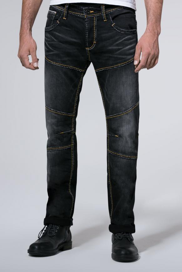 Vintage Look mit Biker-Elementen Jeans HE:RY dark grey used