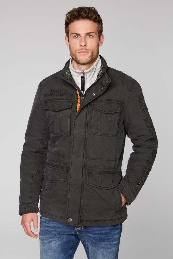 Wattierte Jacke mit Label-Applikationen ebony