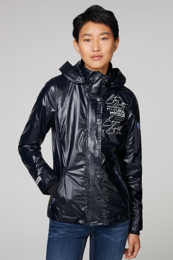 Windjacke mit Kapuze, Print und Coating horizon navy