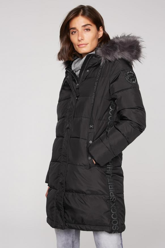 Winter-Parka mit Kapuze und Logo-Tape black