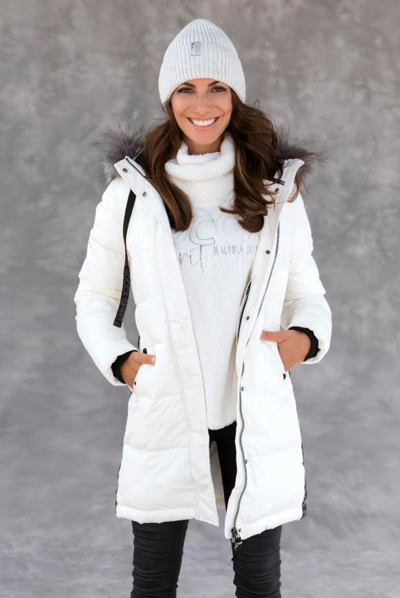 Winter-Parka mit Kapuze und Logo-Tape snow white