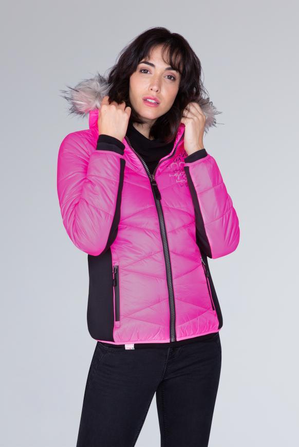 Winterjacke im Materialmix mit Kapuze neon magenta