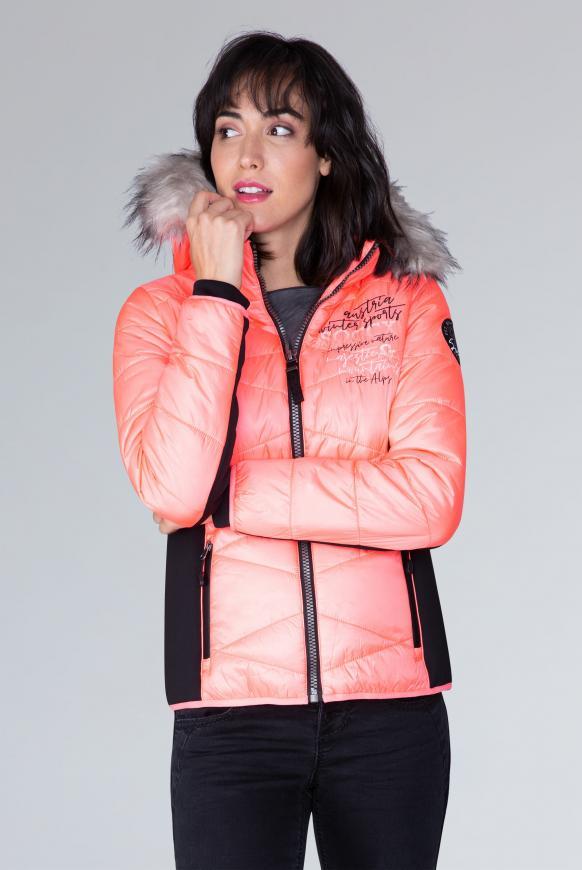 Winterjacke im Materialmix mit Kapuze neon rosa
