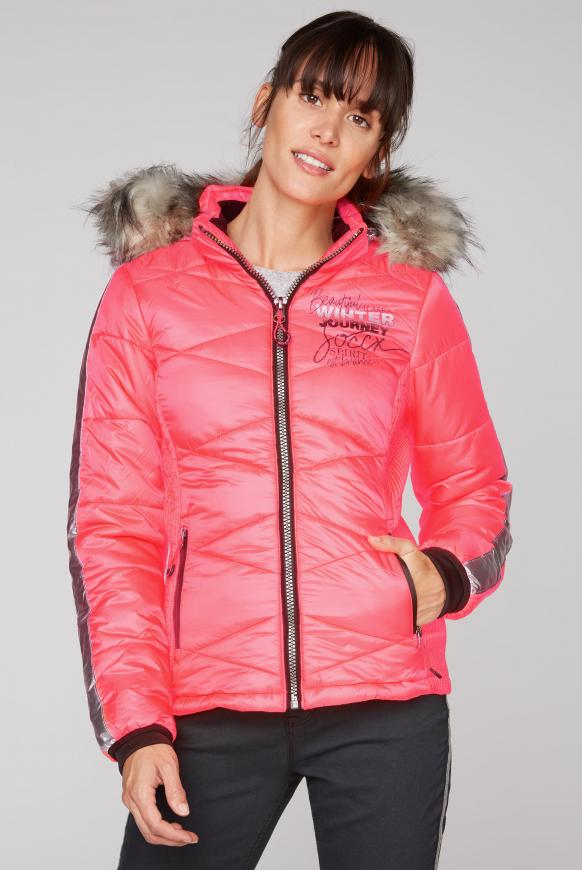 Winterjacke im Ski-Look mit Kontrastkapuze flashy red