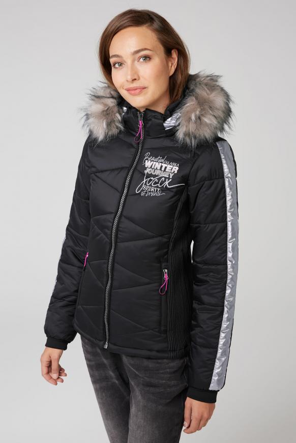 Winterjacke im Ski-Look mit Kontrastkapuze black