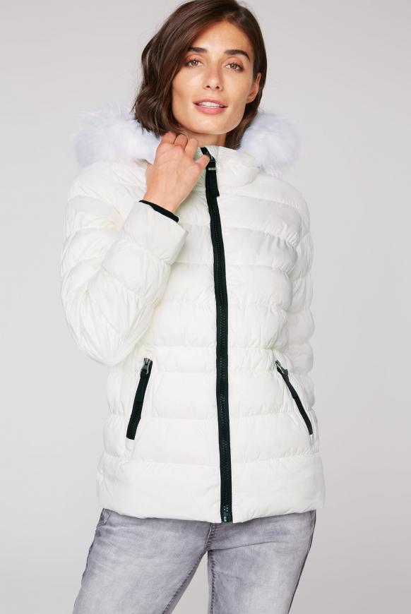 Winterjacke mit gesmokten Nähten und Fake Fur snow white