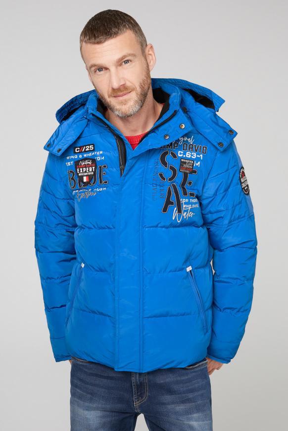 Winterjacke mit Kapuze und Artworks coastal blue