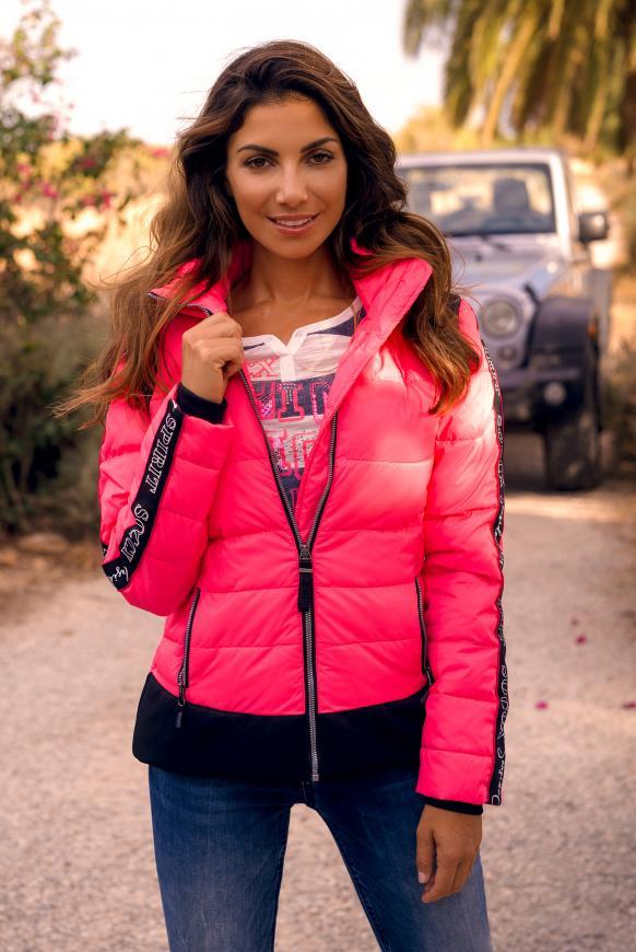 Winterjacke mit Logo-Tape und Stretchbund knockout pink