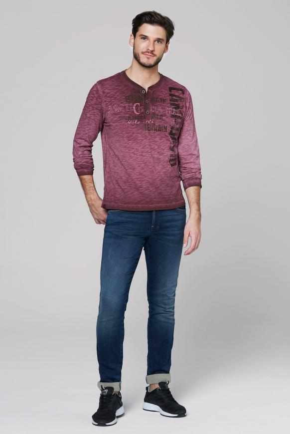 Henley-Shirt aus Flammgarn mit Used Prints