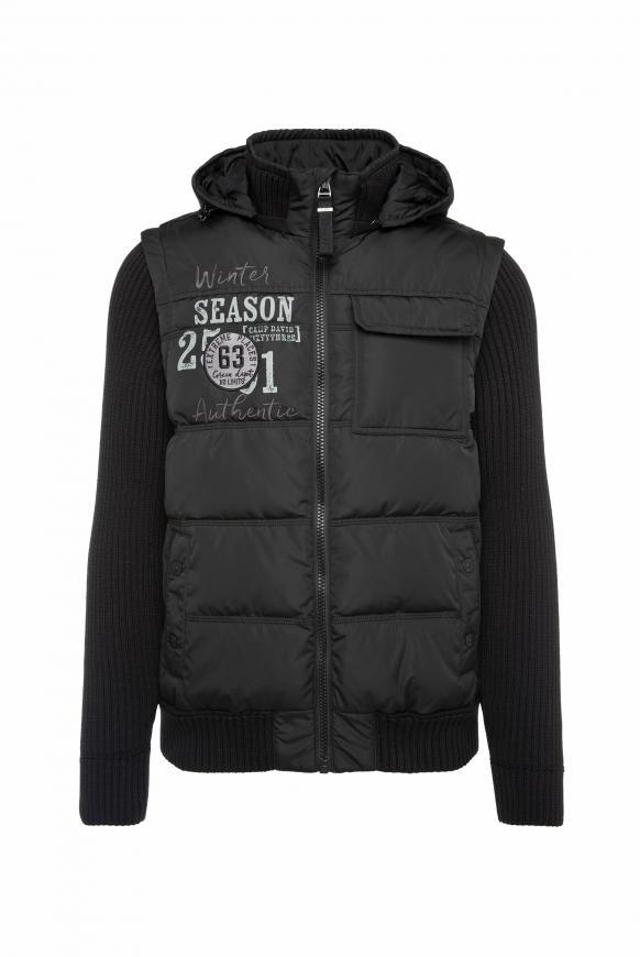 2-in-1 Jacke mit Kapuze und Strickärmeln black