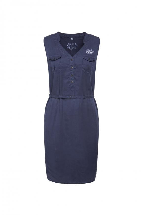 Ärmelloses Kleid mit Taillengürtel blue soul