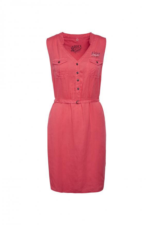 Ärmelloses Kleid mit Taillengürtel red summer