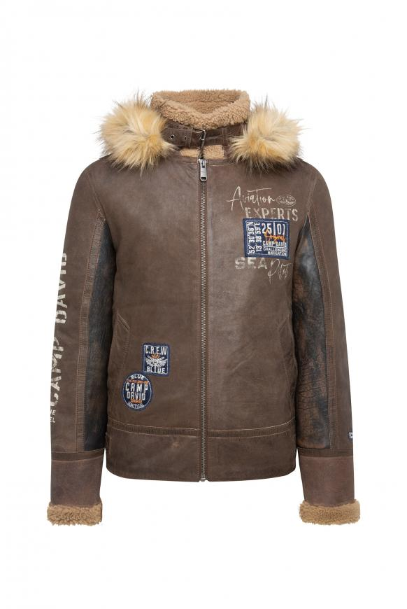 Airforce Lederjacke im Materialmix brown / khaki