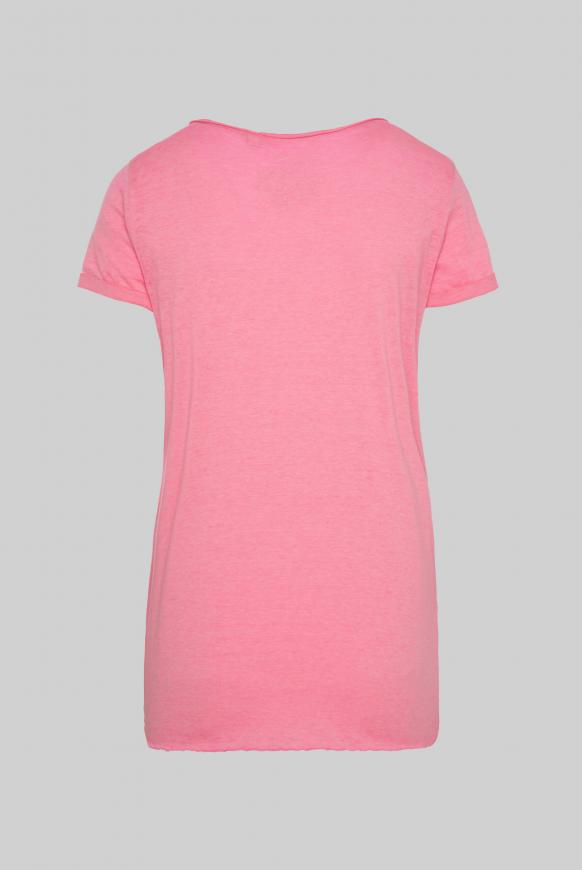 Ausbrenner-Shirt mit Knotensaum und Artwork paradise pink