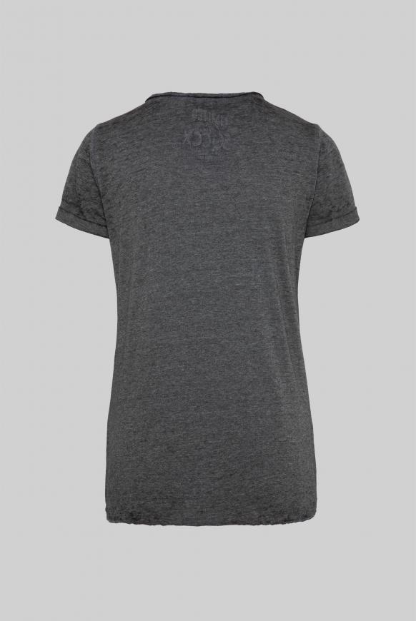 Ausbrenner-Shirt mit Knotensaum und Artwork black