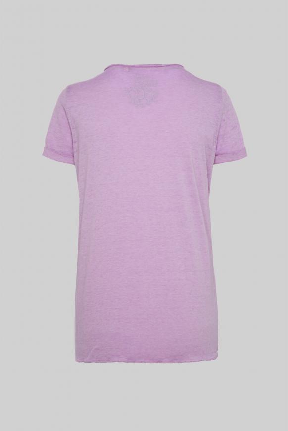 Ausbrenner-Shirt mit Knotensaum und Artwork lavender sky