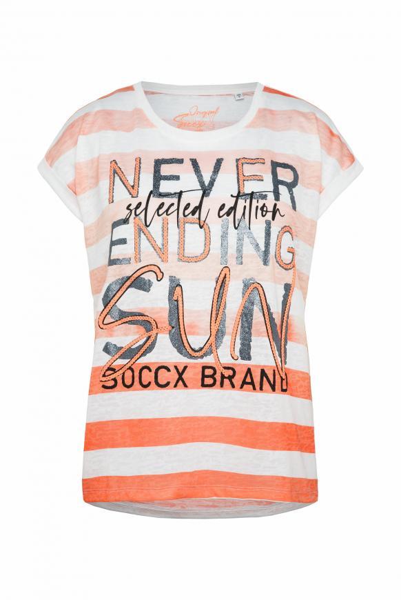 Ausbrenner-Shirt mit Streifen und Wording Print neon orange