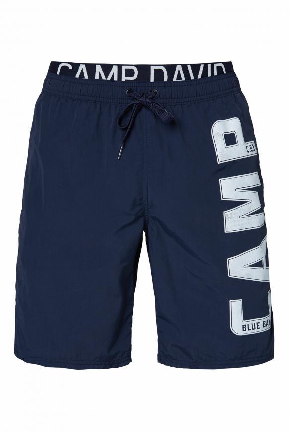 Badeshorts mit Doppelbund und Logo blue navy