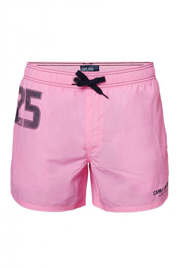 Badeshorts mit Label Print neon pink