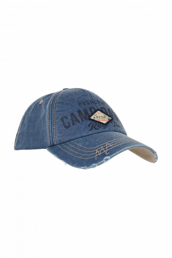 Base Cap mit Artwork und Used-Optik blue grey