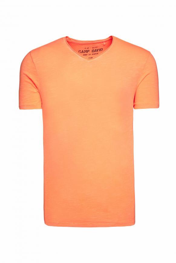 Basic T-Shirt mit V-Ausschnitt neon orange
