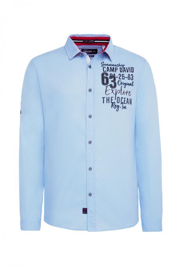 Baumwollhemd mit Stickereien, Regular Fit light blue
