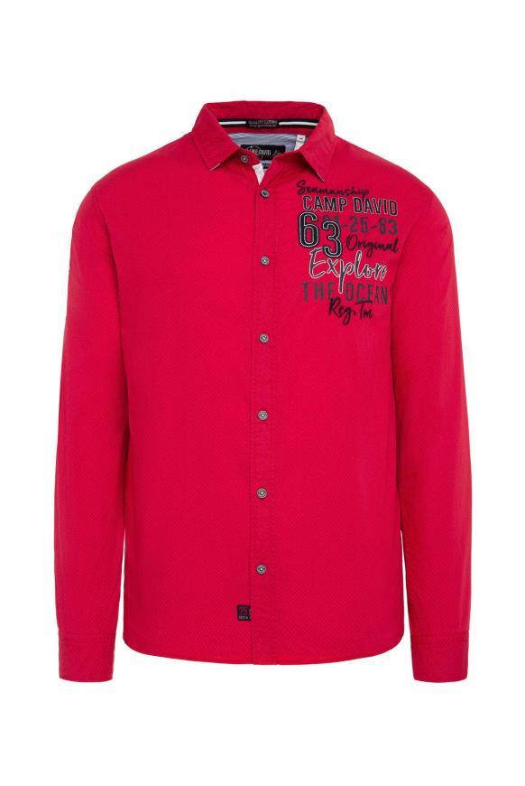 Baumwollhemd mit Stickereien, Regular Fit royal red
