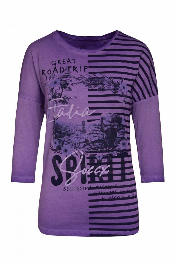 Baumwollshirt mit Artwork bright purple
