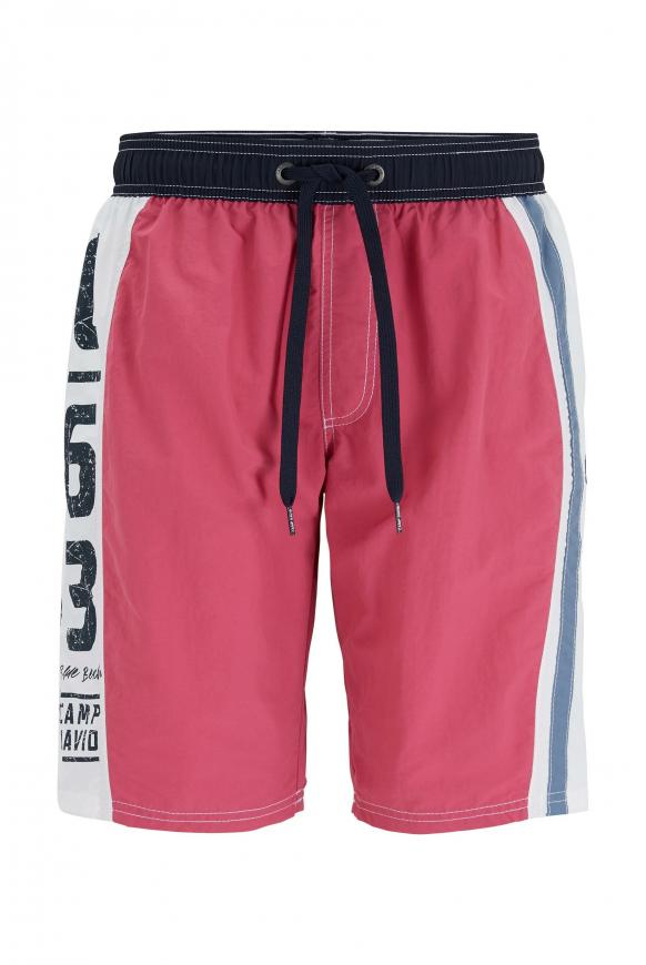 Beachshorts mit Colour-Design und Print red purple