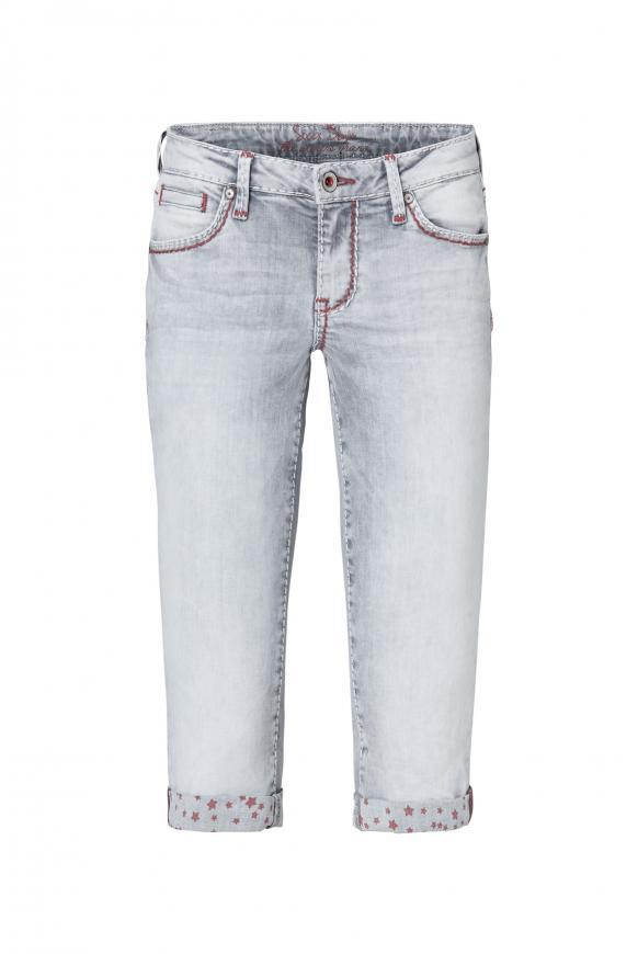 Bermudas Jeans RO:MY mit bedruckter Innenseite grey used printed