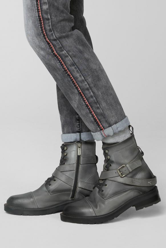 Biker Boots aus Leder mit Schnallen-Detail grey