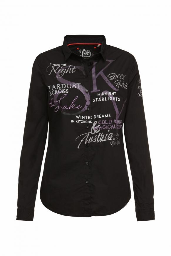 Bluse mit großen Logo-Applikationen black