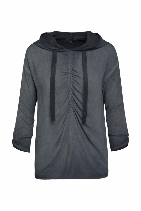 Bluse mit Kapuze und Back Print fog black