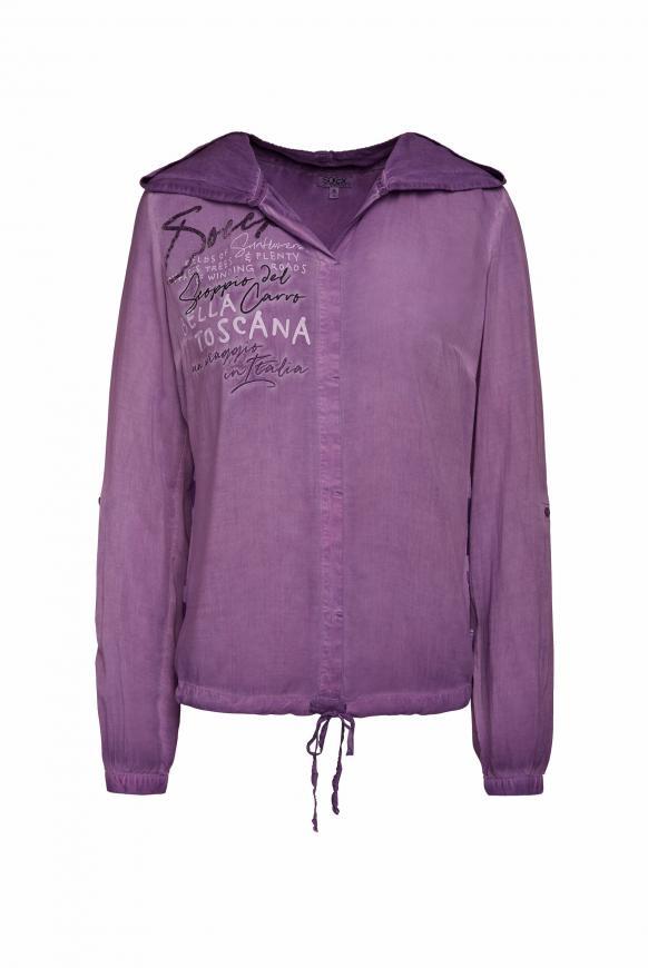 Bluse mit Kapuze und Streifenprint hinten bright purple