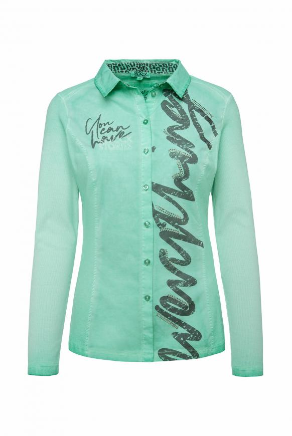 Bluse Oil Dyed im Materialmix mit Artwork frosty mint