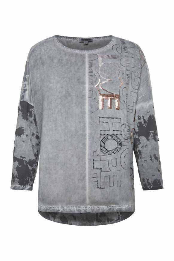 Blusen-Shirt Oil Dyed mit Artwork-Design grey phantom