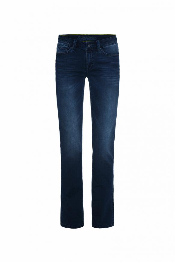 Boot Cut Jeans CO:LE mit Used-Optik, Comfort Fit dark blue