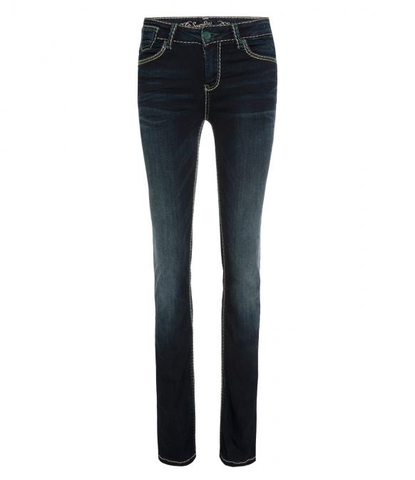 Bootcut Jeans CO:LE mit Wrinkle-Effekte blue black used