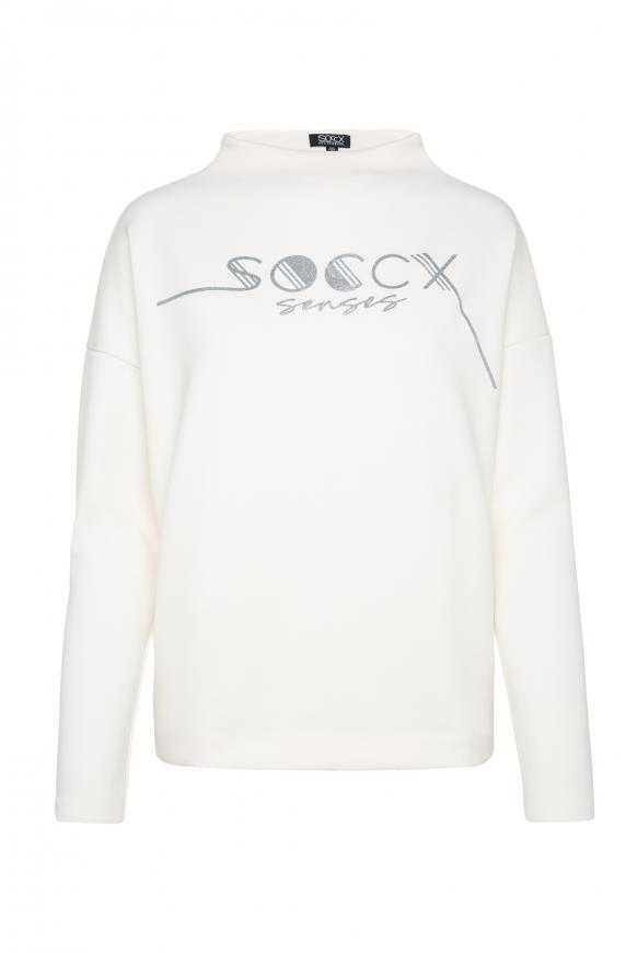 Boxy-Shirt mit Glitter Logo cotton white