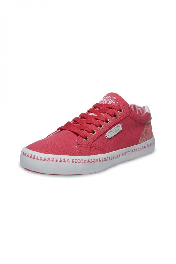 Canvas Sneaker mit bedruckter Sohle red summer