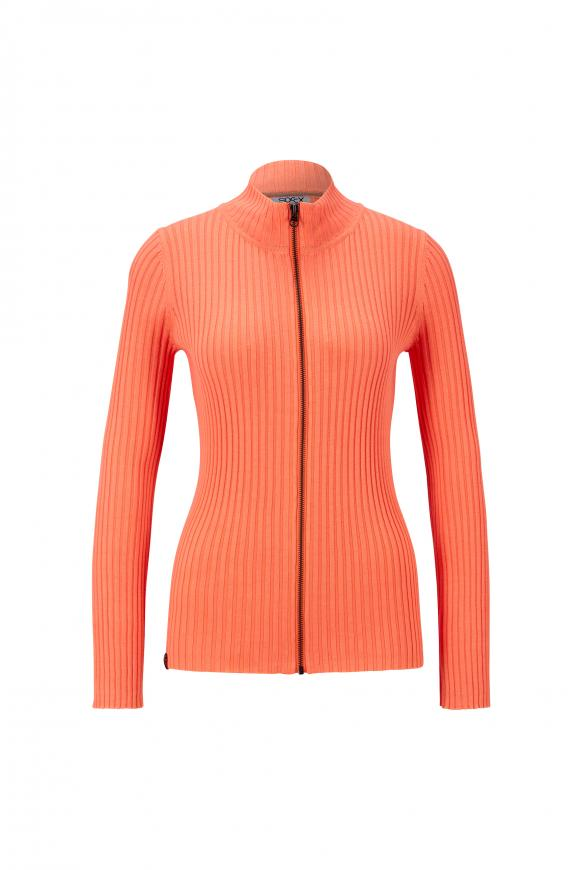 Cardigan in Rippstrick mit Zipper lush orange