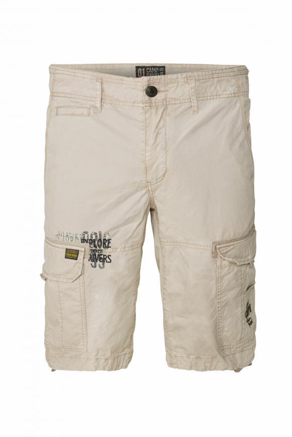 Cargo Shorts mit Prints und Stickereien paperbark