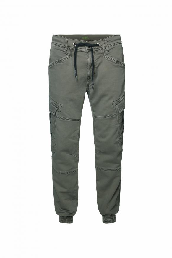 Cargohose aus Jogg Denim mit Used-Optik olive star